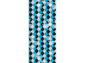 Deursticker Muursticker Ruiten | Blauw, Zwart | 91x211cm