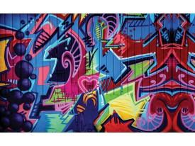 Fotobehang Papier Graffiti | Blauw, Rood | 254x184cm