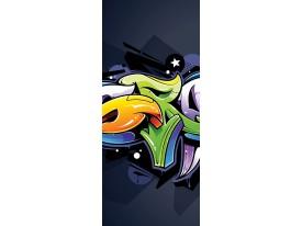 Deursticker Muursticker Graffiti | Zwart, Groen | 91x211cm
