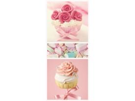 Deursticker Muursticker Cupcake | Roze | 91x211cm