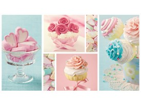 Fotobehang Vlies | Snoepjes | Turquoise, Roze | 368x254cm (bxh)