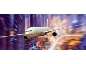 Fotobehang Vliegtuig | Blauw, Paars | 250x104cm