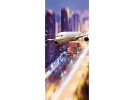 Deursticker Muursticker Vliegtuig | Paars | 91x211cm