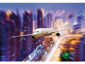 Fotobehang Vlies | Vliegtuig | Blauw, Paars | 368x254cm (bxh)