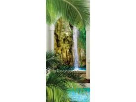 Deursticker Muursticker Waterval, Natuur | Groen | 91x211cm