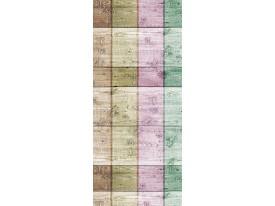 Deursticker Muursticker Hout, Landelijk | Paars, Groen | 91x211cm