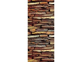 Deursticker Muursticker Stenen, Muur | Bruin | 91x211cm