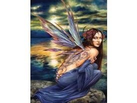 Fotobehang Papier Vrouw | Blauw, Groen | 184x254cm