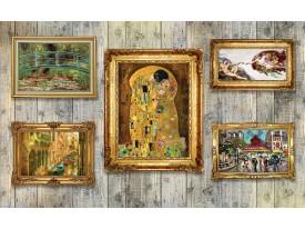 Fotobehang Hout, Schilderijen | Geel | 152,5x104cm