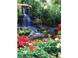 Fotobehang Papier Natuur, Waterval | Groen | 184x254cm
