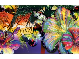 Fotobehang Vlinder, Bloemen | Geel | 152,5x104cm