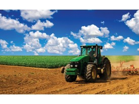 Fotobehang Natuur, Tractor | Blauw | 416x254
