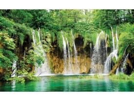 Fotobehang Vlies   Natuur, Waterval   Groen   368x254cm (bxh)