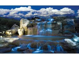 Fotobehang Natuur, Waterval | Blauw | 208x146cm
