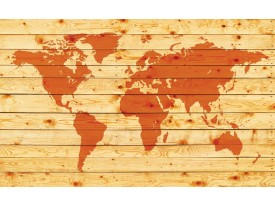 Fotobehang Vlies   Wereldkaart   Oranje   368x254cm (bxh)