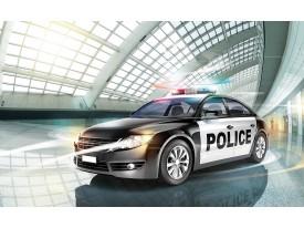 Fotobehang Papier Politieauto | Grijs | 254x184cm