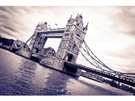 Fotobehang London, Brug   Grijs   312x219cm