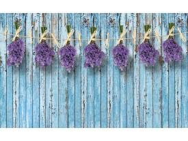 Fotobehang Vlies | Hout, Bloemen | Blauw | 368x254cm (bxh)