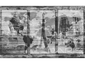 Fotobehang Vlies | Hout, Parijs | Grijs | 368x254cm (bxh)