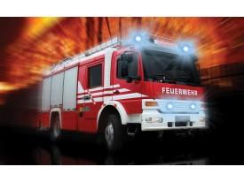 Fotobehang Brandweerauto | Rood, Oranje | 312x219cm