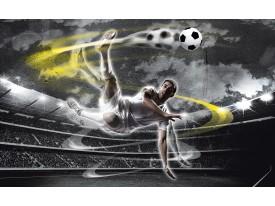 Fotobehang Voetbal | Grijs, Geel | 416x254