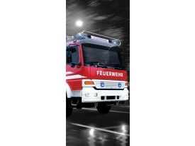 Deursticker Muursticker Brandweerauto | Rood | 91x211cm