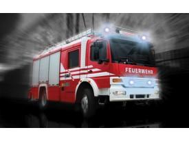 Fotobehang Papier Brandweerauto | Zwart, Rood | 254x184cm