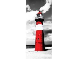 Deursticker Muursticker Vuurtoren | Grijs, Rood | 91x211cm