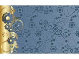 Fotobehang Vlies   Bloemen   Goud, Blauw   368x254cm (bxh)