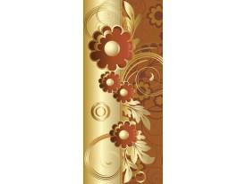 Deursticker Muursticker Bloemen | Goud, Bruin | 91x211cm