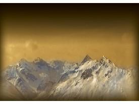 Fotobehang Bergen, Sneeuw   Bruin, Wit   104x70,5cm