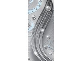 Deursticker Muursticker Modern  | Zilver, Blauw | 91x211cm