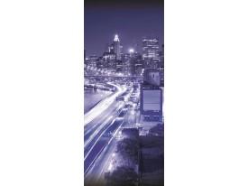 Deursticker Muursticker Skyline, Steden | Paars | 91x211cm