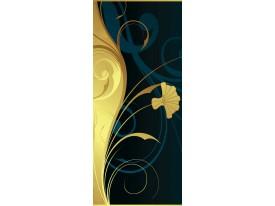 Deursticker Muursticker Bloem | Blauw, Geel | 91x211cm