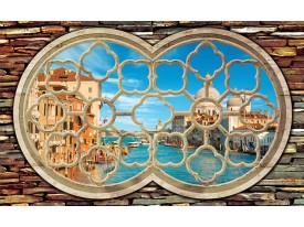 Fotobehang Papier Venetië, Muur | Blauw | 254x184cm