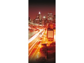 Deursticker Muursticker New York | Bruin, Oranje | 91x211cm