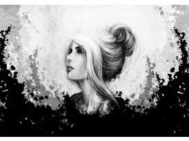 Fotobehang Vlies   Vrouw, Modern   Zwart, Grijs   368x254cm (bxh)