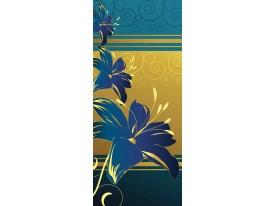 Deursticker Muursticker Bloemen | Blauw, Geel | 91x211cm