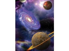 Fotobehang Papier Planeten   Blauw, Paars   184x254cm