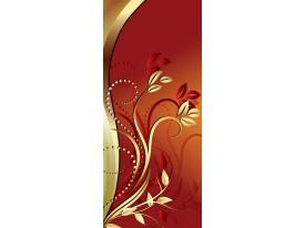 Deursticker Muursticker Bloemen | Bruin, Goud | 91x211cm