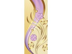 Deursticker Muursticker Bloemen | Paars, Goud | 91x211cm