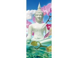 Deursticker Muursticker Boeddha, Zen | Wit | 91x211cm
