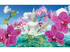 Fotobehang Vlies | Boeddha, Orchidee | Blauw | 368x254cm (bxh)