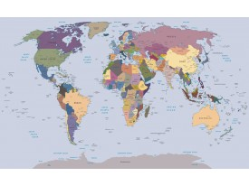 Fotobehang Wereldkaart | Blauw | 416x254