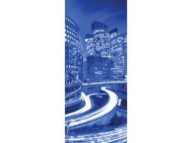 Deursticker Muursticker Steden | Blauw | 91x211cm