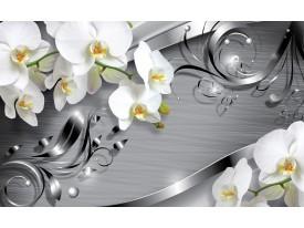 Fotobehang Bloemen, Orchidee   Zilver   208x146cm