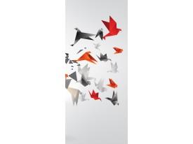 Deursticker Muursticker Abstract | Rood, Grijs | 91x211cm