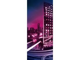Deursticker Muursticker Steden | Paars, Roze | 91x211cm