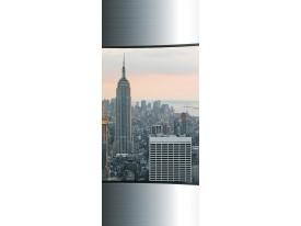 Deursticker Muursticker Skyline, Steden | Zilver | 91x211cm
