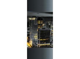 Deursticker Muursticker Skyline, Steden | Grijs | 91x211cm
